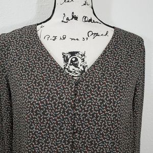 Loft Olive Green Floral Long Sleeves Blouse Size M